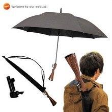 Fusil en bois poignée, gun parapluie, 100% solaire, UPF> 40 +, parasol, droite, coupe-vent, 3.5mm en fiber de verre longues côtes