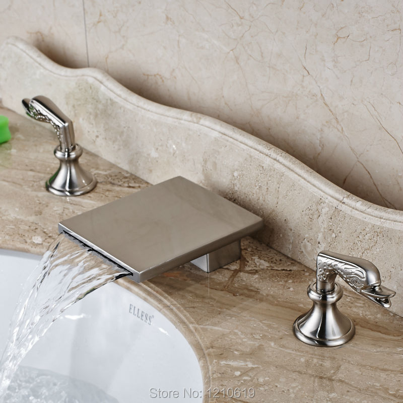 Uythner Newly Deck Mounted Waterfall Sink Faucet Mixer Tap Euro Style Bathroom Basin Faucet 3Pcs Dual Handles