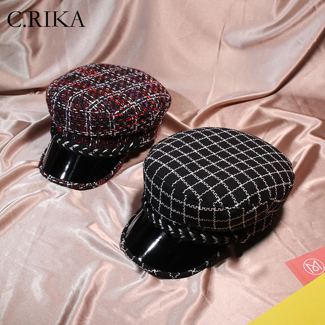 bfb77db1968 Hot Sell Autumn Winter Women Fashion Plaid Tweed Visor Beret Cap Military  Hat Korea Style boina