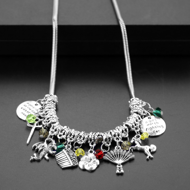 DIY Jewelry Heroine Mulan Pendant With Horse Comb Sword Crystal Beads Statement Accessories woman is a Hero Women Mom Gifts