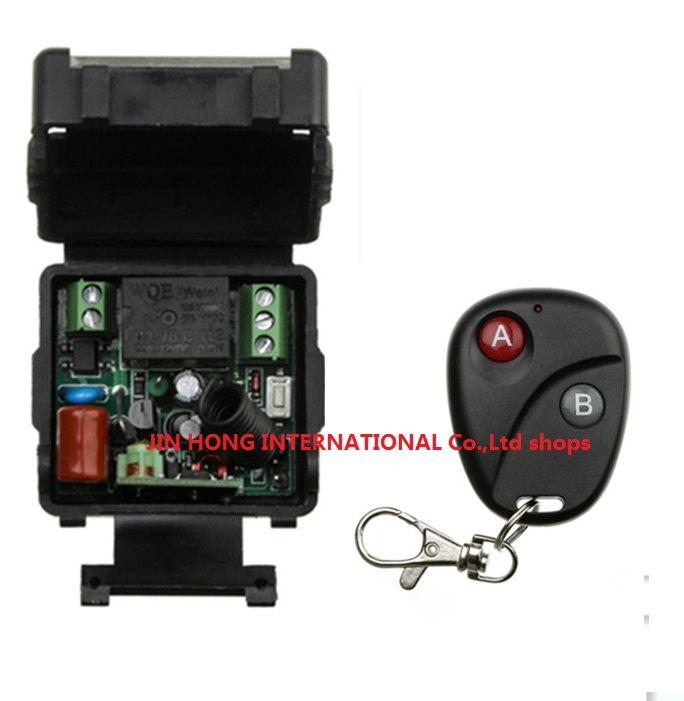 AC 220 v 1 ch RF wireless remote control switch 1 pics receiver +1 pics transmitter With 2 buttons A for ON and B for OFF