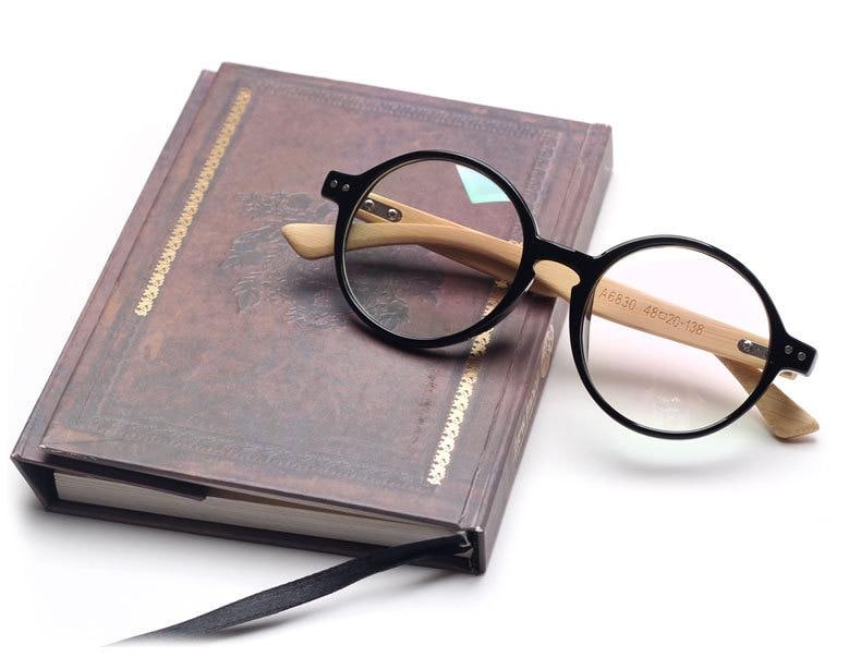 2017 round bamboo leg handmade eyeglasses wooden glasses reading bamboo eyeglasses wood frames oculos de grau n557 in eyewear frames from womens clothing - Wood Frames Glasses