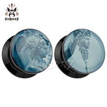Кубуз модные беруши для пирсинга черный акриловый лого расширитель