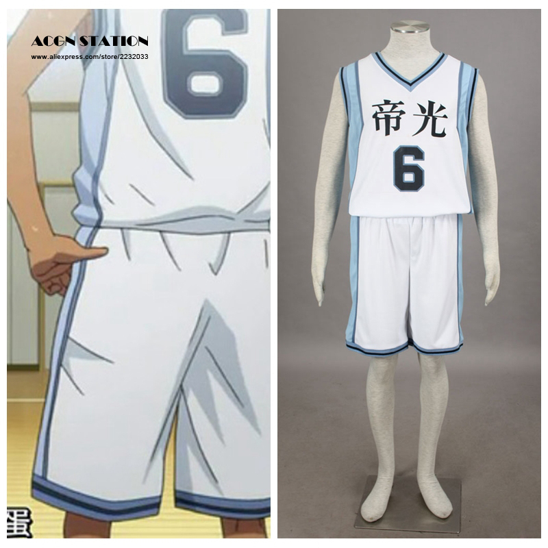 2018 Free Shipping Costume Kuroko no basuke Anime Teiko #6 Aomine Daiki Basketball Jersey Halloween Cosplay Adult Costume