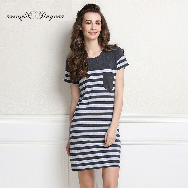 2016 Summer Modal Casual Plus size Nightgowns Short-sleeve Knee-length Striped Sleepshirts For Women Sleepwear with Pockets