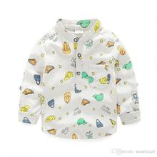 New Cute Kids Boys Cartoon Fall Shirts Candy Color Pockets Western Children Tops Blouse 5pcs/lot Wholesale