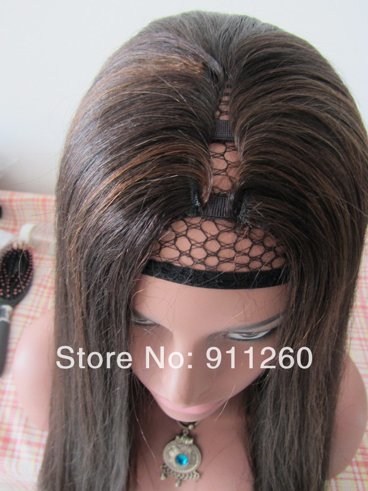 U Part Human Hair Wig 18inch Color 2 Highlight 4 Hair Color Perm
