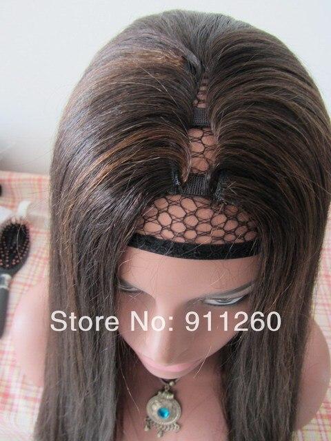 U Part Human Hair Wig 18inch Color 2 Highlight 4 Hair Color Perm