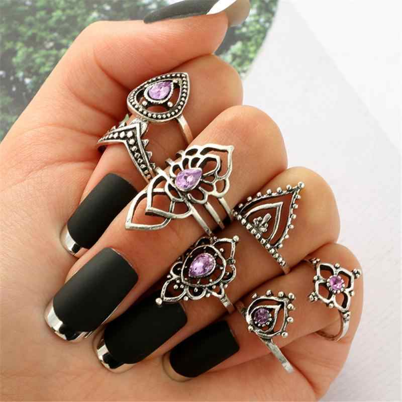 7PCS Vintage Knuckle Rings for Women Fashion Boho Flower Purple Crystal Rings Set Bohemian Female Jewelry Anillos Mujer