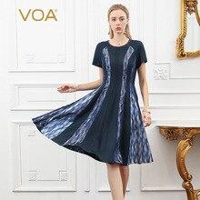 VOA 100% Heavy Silk Dress Women Midi Brocade Dresses Summer Short Sleeve Ladies vestidos Luxury sukienki damskie jurken A980