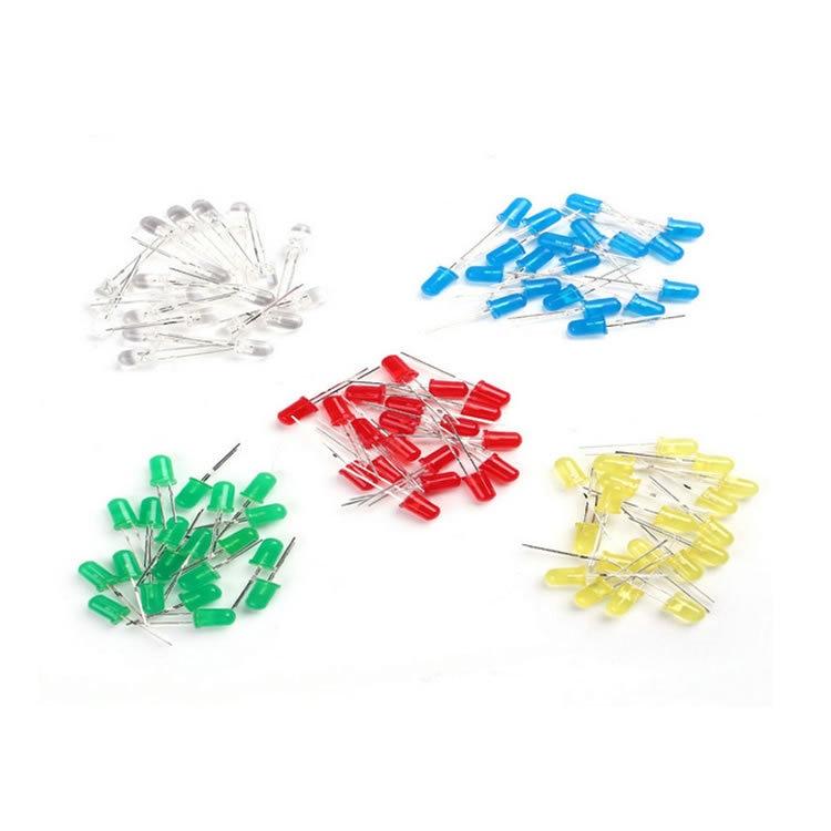 100pcs 5mm LED diode Light Assorted Kit DIY LEDs Set White Yellow Red Green Blue free shiiping electronic diy kit