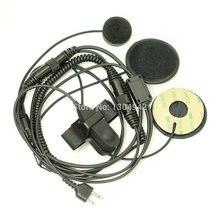 Full Face Motorcycle Bike Helmet Earpiece Headset Mic Microphone 2 pin for Icom Maxon Yaesu Vertex