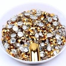 1000 шт, стразы золотистого цвета, без горячей фиксации, 2-5 мм, разные размеры, круглые, плоские с оборота, клей на алмазах, сделай сам, 3D украшение для дизайна ногтей