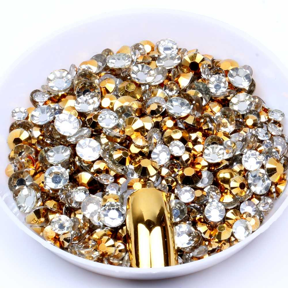1000pcs Gold Color Non Hotfix Resin Rhinestones 2-5mm And Mixed Sizes Round Flatback Glue On Diamonds DIY 3D Nail Art Decoration