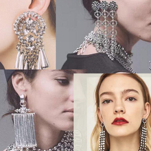 Rhinestone Earrings Long Gold Color In Drop Dangle Earrings For Women Water Drop Crystal Earrings Female Wedding Jewelry