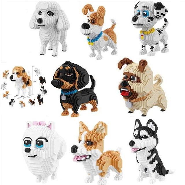 4 stili balody cane cartone animato serie blocchi mini diamante