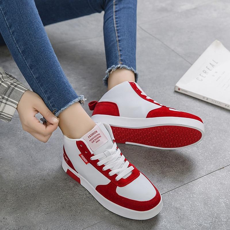 Haute Casual Femmes Simples rouge Filles Ceinture Hiver Femelle Étanche Chaussures vert En De Cuir Appartements Augmenté 2018 Gris Automne Étudiant Nouvelle top xYvqw1zE