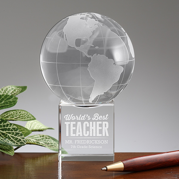 Personalized Premium Crystal Globe Award Paperweight World s Best Teacher Trophy it can be engraved