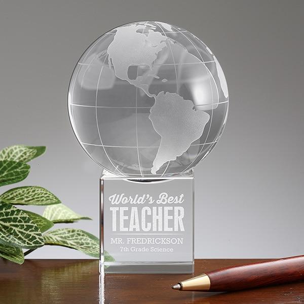 Personalized Premium Crystal Globe Award Paperweight World