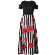 New Two Pieces Casual Women Maxi Dresses Short Sleeve Black Top Long Pattern Floral Dress Plus
