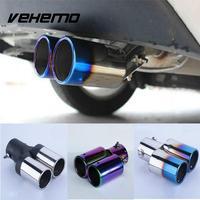 Auto Carro Gêmeos Stright Aço Inoxidável Silenciador tubo De Escape Traseira Universal *|Medidores de escape|   -
