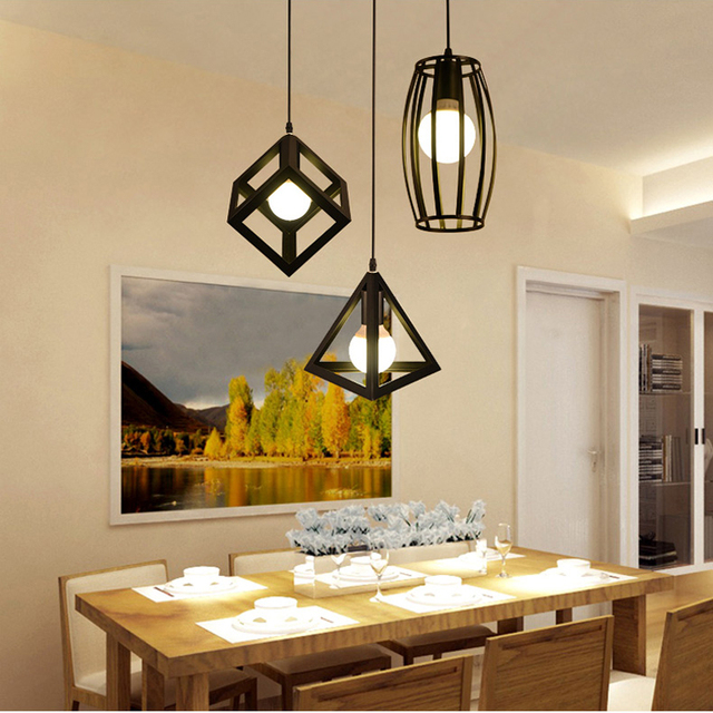 American Vintage Geometrical Creative Pendant Lights Simple Dining Room Lamp  Iron Pendant Lamp With E27 Bulbs