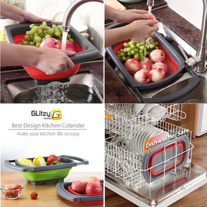 Image 5 - Kitchen Colander Fruit Vegetable Washing Basket Foldable Strainer Collapsible Drainer Over The Sink Adjustable Silicone Tools