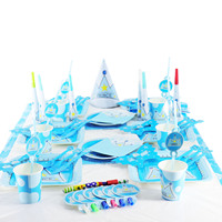 16pcs 1Set Princess Crown Theme Banners Party Paper Flags Baby Boy Favor Birthday Party Decoration Wedding Party Supplies