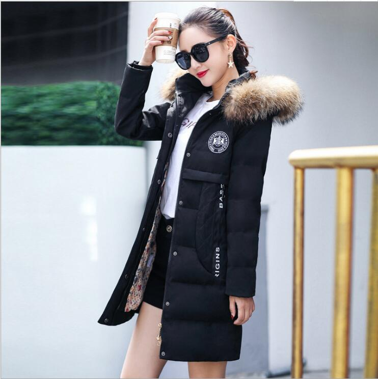 women in the long section of 2017 new Korean version of the down fashion  jacket women winter thick women's cotton coat sky blue cloud removable hat in the long section of cotton clothing 2017 winter new woman