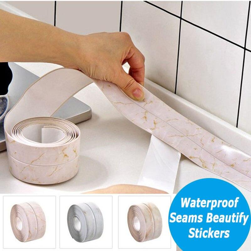 Prova do mildew vanzlife fita adesiva decoração da cozinha pia do banheiro à prova d' água tiras de costura canto cola adesivos de parede beleza