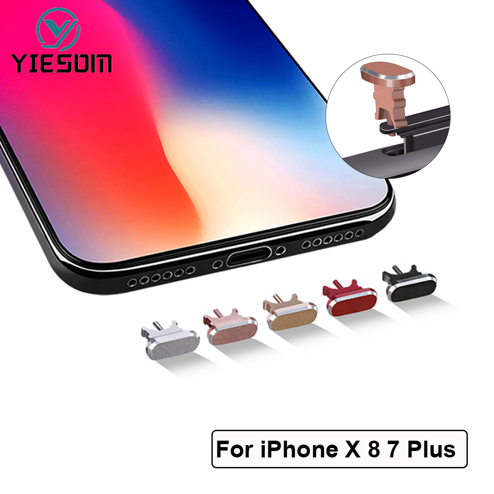 Dust Plug 2 In1 Anti Card Retrieve Card Pin Mobile Phone Charge Port For Apple Iphone X 8 7 6s Plus 6 5s Se 5 Aluminium Alloy Dust Plug Durable In Use