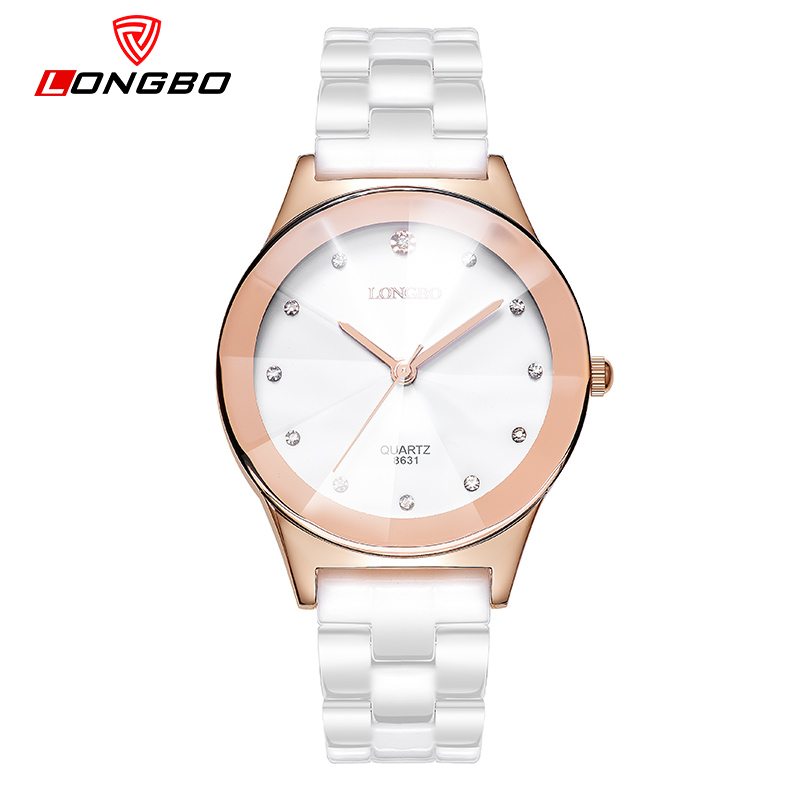 LONGBO Female Ceramics Strap Watches Rose Gold Dial Boys and Girls Wrist Watches For Lovers Quartz Watch Women With Crystals krishen kumar bamzai and vishal singh perovskite ceramics preparation characterization and properties
