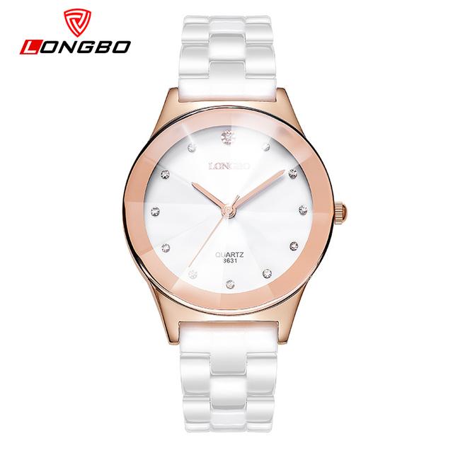LONGBO Relojes Correa de Cerámica Femenina Niños y Niñas Relojes de Pulsera Para Los Amantes de Oro Rosa Dial Reloj de Cuarzo Mujeres Con Cristales