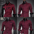 Color rojo del CLUB del Mens del algodón diseñador Cross Line Dress Slim Fit hombre camisas Tops Casual Western sml XL 15 tipo de la camisa