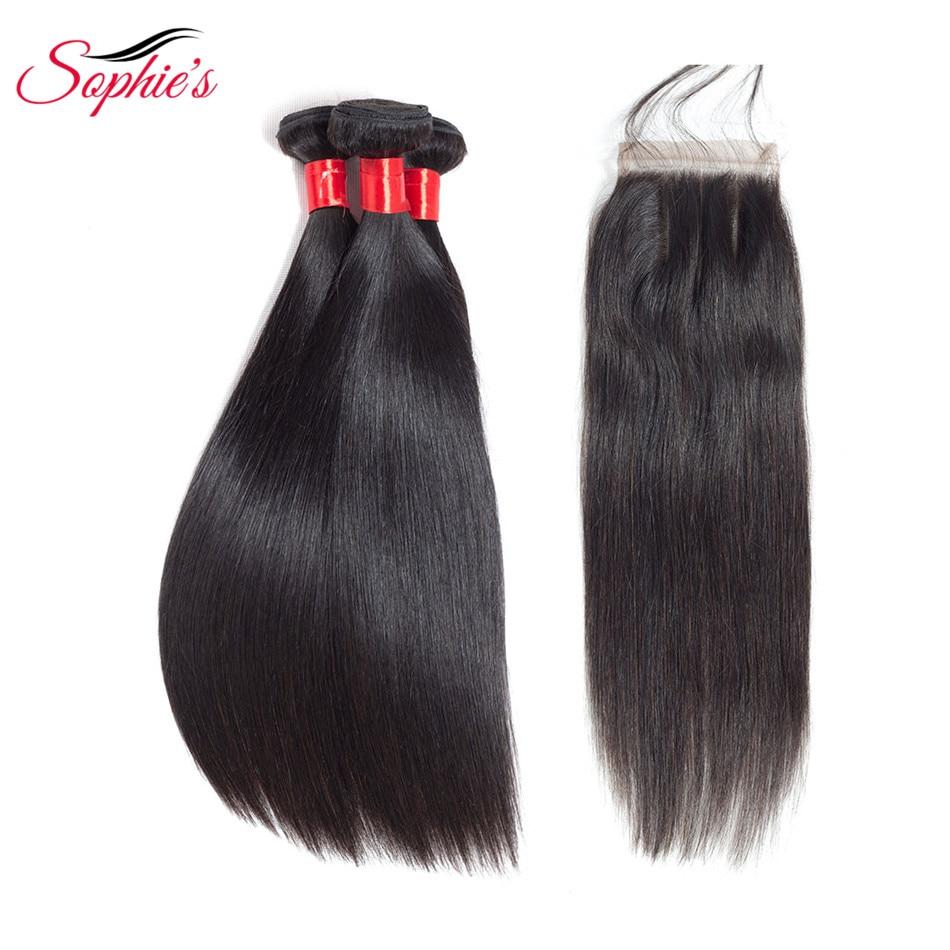 Sophies Brazilian Hair weave Straight Human Hair 3 Bundles With Closure 100 Human Hair Bundles With