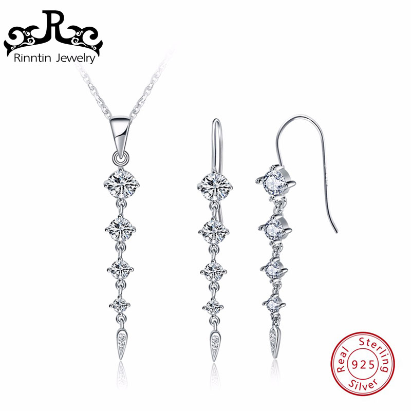 Rinntin 925 Sterling Silver Women Necklace&Earrings Sets With White AAA CZ Cubic Zircon Long Leaf Shape Female Jewelry Set TSS14 a suit of vintage leaf shape necklace and earrings for women