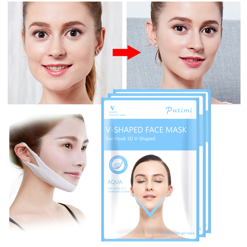 PUTIMI 4Pcs Lift Face Mask Hanging Ear V Shape Face Slim Chin Check Peel off Mask V Shaper Face Slimming Bandage Mask Skin Care in Treatments Masks from Beauty Health