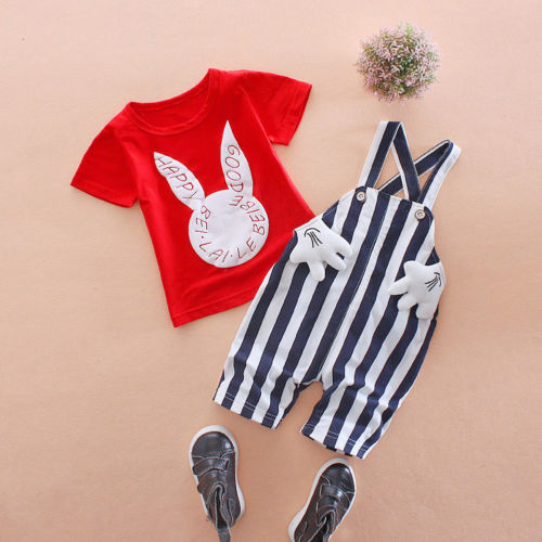 2PCS Kids Baby Boy Girl Knit Cotton Bid Pants Romper Jumpsuit Overalls Clothes Animals Print Short Sleeve T-shirt Clothes Set 2pcs children outfit clothes kids baby girl off shoulder cotton ruffled sleeve tops striped t shirt blue denim jeans sunsuit set