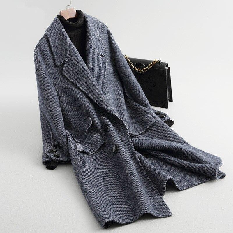 Double Nouveau Femelle face Laine Alpaga Long Manteau Manteaux Femmes Mode De Z296 Veste Poches Denim Automne Blue noir Angleterre Hiver zqt7rPFwxz