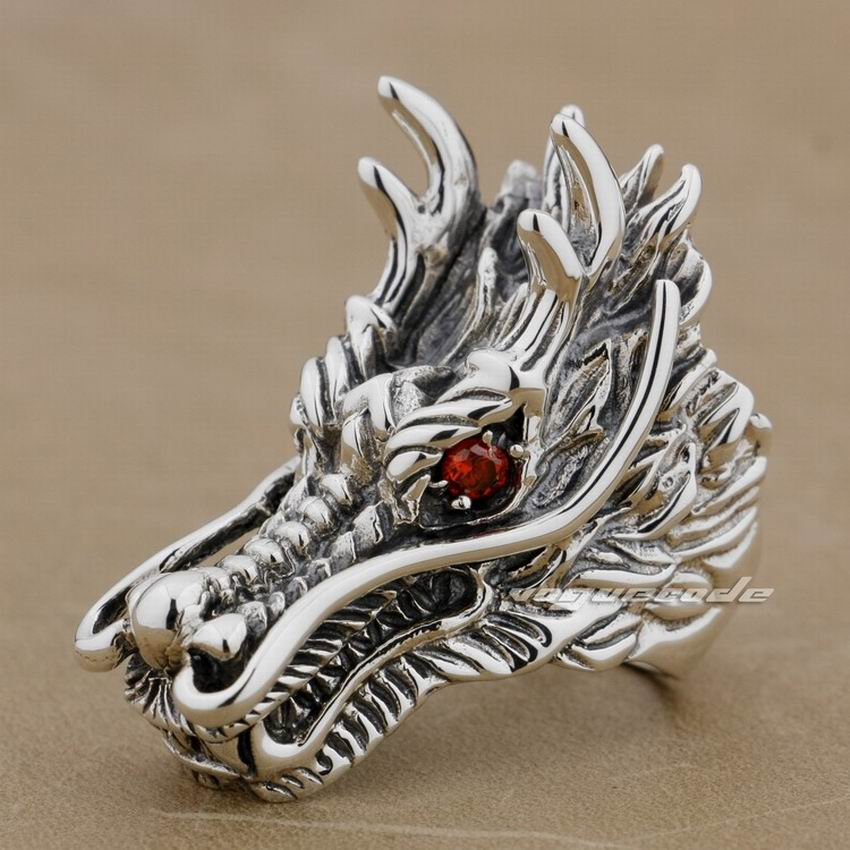 Huge & Heavy 925 Sterling Silver Red CZ Eyes Dragon Mens Biker RIng 9D010Huge & Heavy 925 Sterling Silver Red CZ Eyes Dragon Mens Biker RIng 9D010