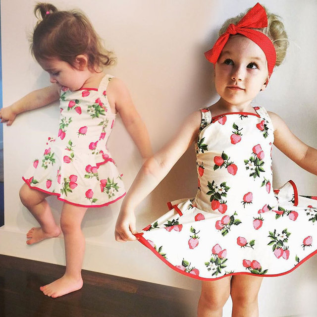 ac3c85230 Baby girl floral tutu dress summer toddler strawberry dress infant ...