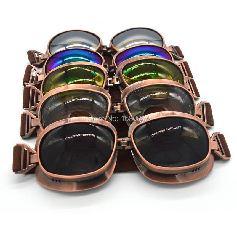 64cb2b4110303 Óculos De Proteção Da Motocicleta Do Vintage Piloto Aviador Cruiser  Steampunk cobre ATV Moto de Motocross Óculos De Proteção Óculos de Proteção  UV 5 Cores ...
