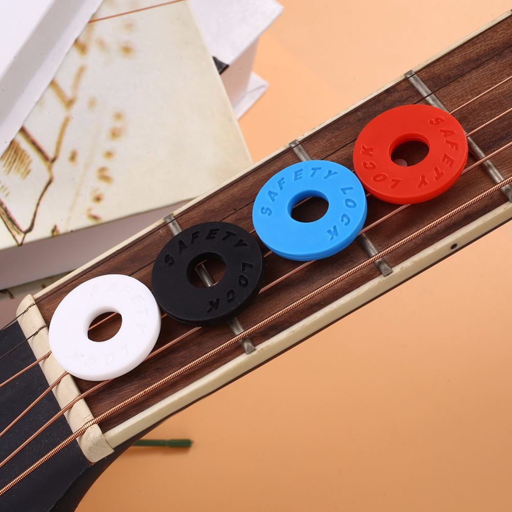 Yuker Yuker 8 Pcs Guitar Strap Locks Blocks Silicone Soft Anti Slip Tail Nail Buckle Parts