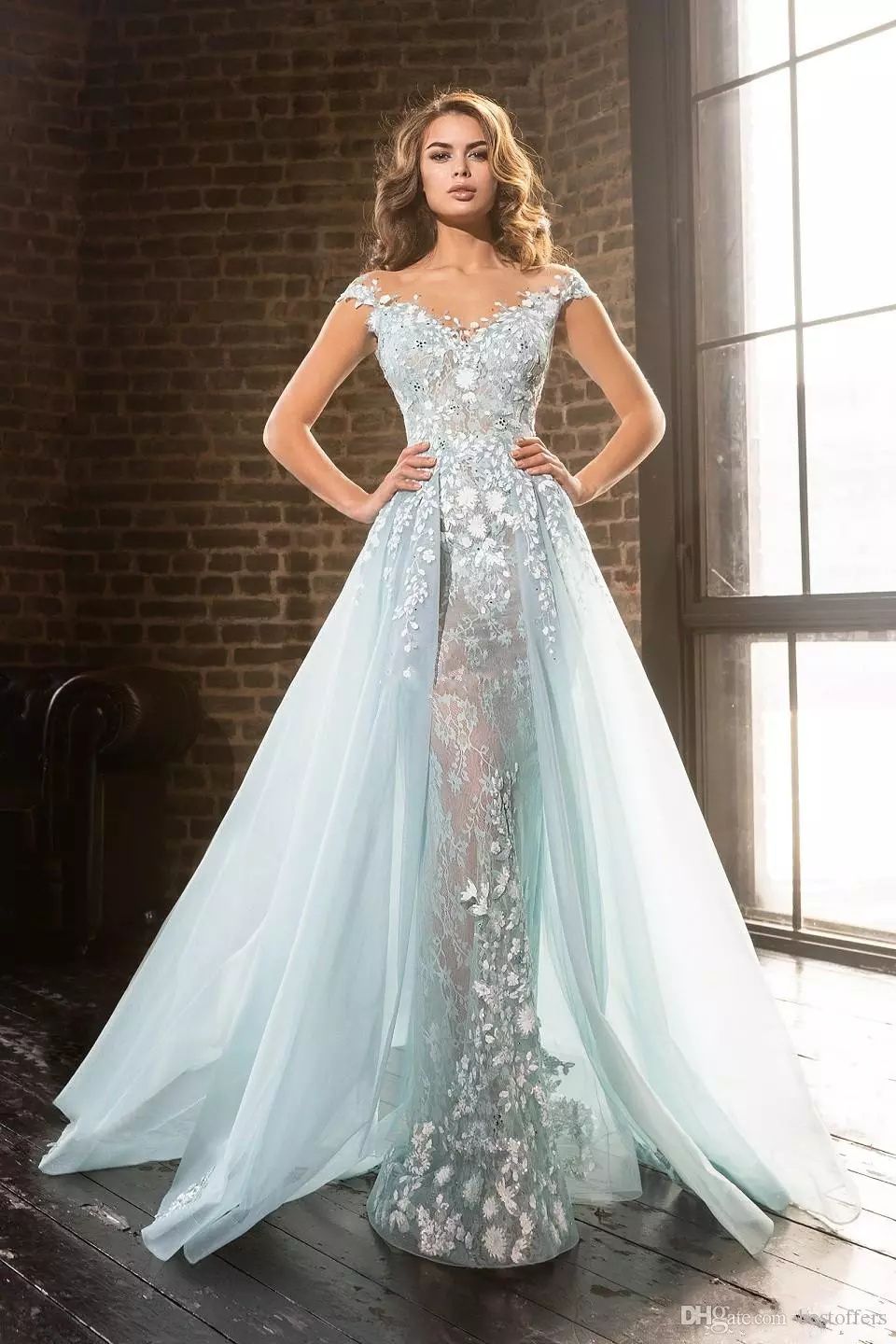 delicate ice blue mermaid prom dresses with detachable