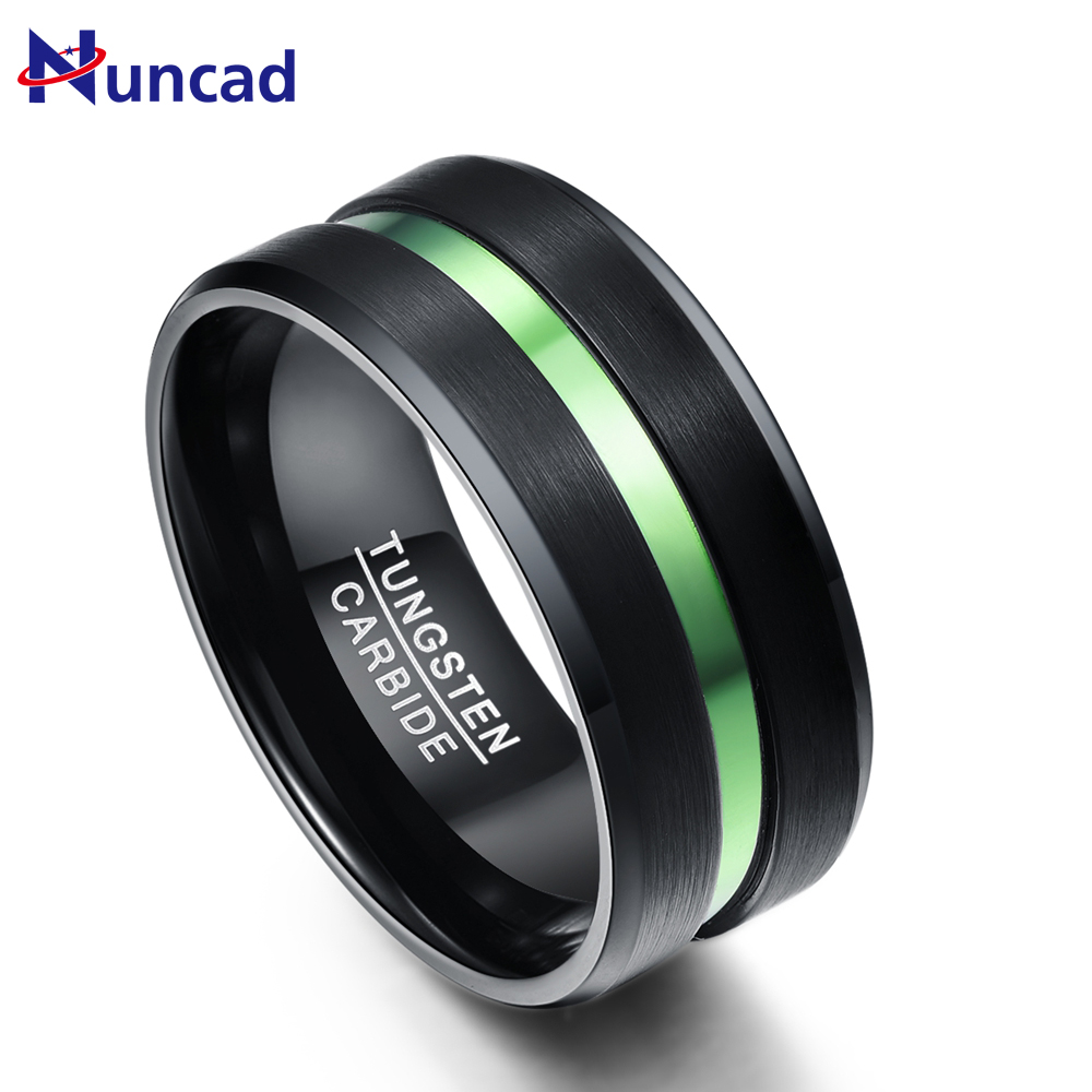 Nuncad Plated Black Tungsten Steel Ring with Green Groove full size 7-12 men's engagement tungsten rings 10MM Wide
