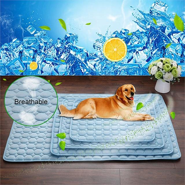 Pet Soft Summer Cooling Mats Blanket Pet Dog Self Cooling Mat Pad Summer Car Seat Ice Silk Mat Pet Cooling Non Sticking Blanket 2