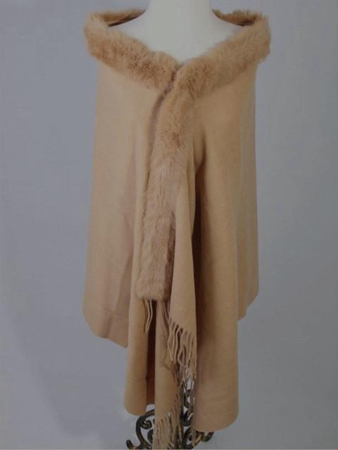 Top Venda Camelo das Mulheres 100% Lã Pashmina Xale Cachecol Coelho Fur Cape Tippet Da Europa E América Estilo 176x68 cm C021