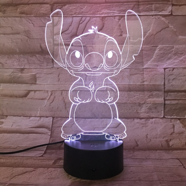 Cartoon Stitch 3D Lamp Bedroom Table Night Light Acrylic Panel USB Cable 7 Colors Change Touch Base Lamp Kids Gift 3D-812 5