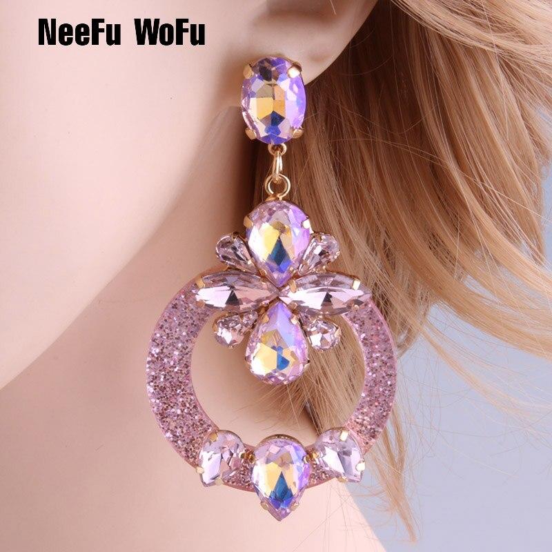 NeeFu WoFu Drop Resin Earrings Brand Crystal Big Earring Large Long Brinco Ear Accessories Oorbellen Christmas Gift