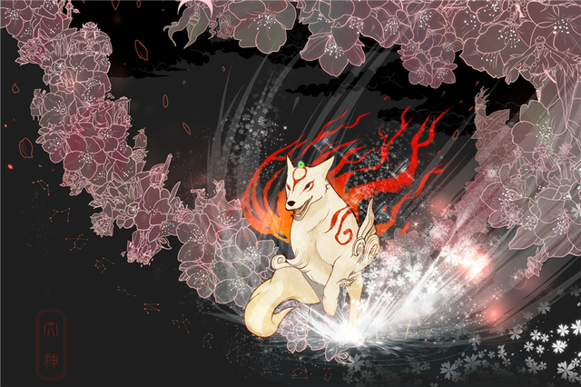 Custom Canvas Painting Okami Poster Anime Wallpaper Wolf Wall Stickers Christmas Sticker Mural Bedroom Decoration